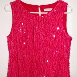 Calvin Klein Pink Sequin Tank Blouse Medium